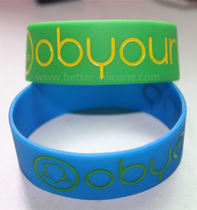 Debossed Color Filled Silicone Bracelet pictures & photos