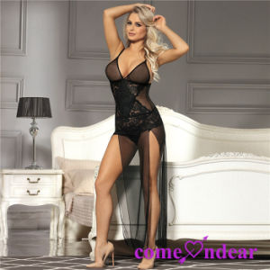 Hot Selling OEM Accepted Plus Size Black Lace Elegant Babydoll pictures & photos