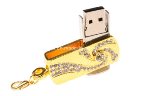 Metal Swivel USB Flash Disk Jewelry Crytal USB Stick pictures & photos