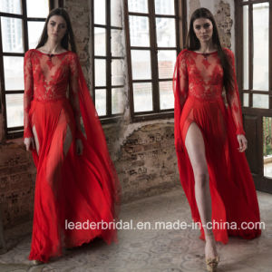Arabic Prom Gown Long Sleeves Red Lace Nude Celebrity Evening Dress W15928 pictures & photos