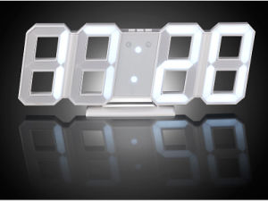 3D Blue LED Digital Wall Clock with Night Mode pictures & photos
