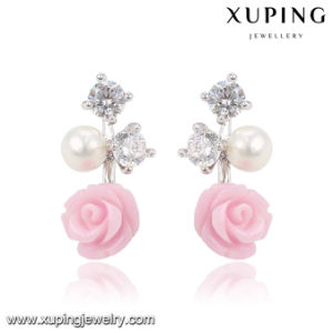 92025 Xuping Fashion Flower Rhodium CZ Diamond Imitation Jewelry Glass Earring with Pearl pictures & photos