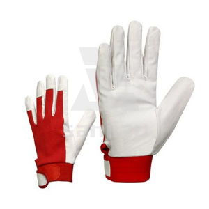 Leather White&Red Motorcycle Glove pictures & photos
