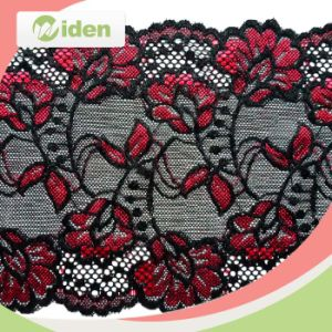 Spandex Nylon Red Flower Nylon Fabric Price Stretch Alencon Lace pictures & photos