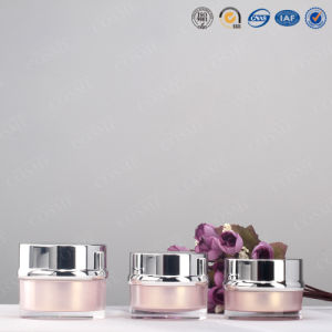 Silver Gold Square High Quality Plastic Acrylic Cosmetic Cream Jar for Cosmetics pictures & photos