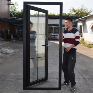 Thermal Break Aluminum Profile Casement Door with Steel Mosquito Net and Grid Within Double Glass K06037 pictures & photos