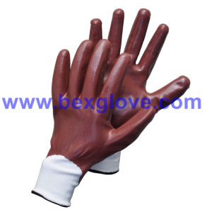 13 Gauge Polyester Liner, Nitrile Coating, Fully Safety Gloves pictures & photos