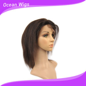 "100% Human Hair Natural Color 10"" Straight Lace Front Wig pictures & photos"