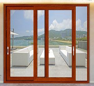 Fashion Cherry Wooden Aluminium Sliding Door for Balcony pictures & photos