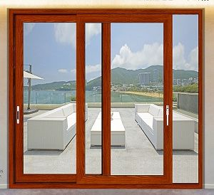 Fashion Cherry Wooden Aluminum Sliding Door for Balcony pictures & photos
