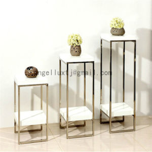 Creative Stainless Steel Side Table Living Room Floor Type Flower Vase Table pictures & photos