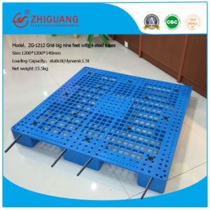 Big 9 Leg 4-Way Sigle Faced Plastic Pallet(Zg-1212 with 4 Steel Tubes pictures & photos