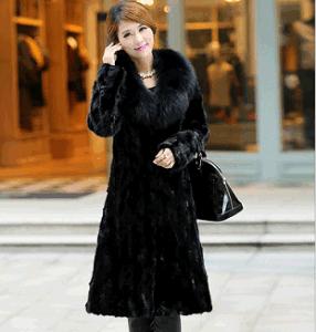 Black Faux Mink Fur Long Coat for Ladies