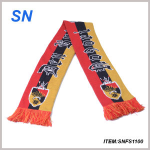 2015factory Custom 100%Acrylic Knitted Football Scarf Fan Scarf Soccer Scarf pictures & photos