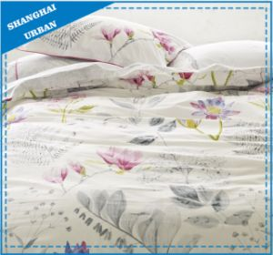 Lotus Watercolor Printed Polyester Duvet Cover Set pictures & photos