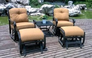 Garden Rockport 5PC Swivel Glider Chat Group with Ottoman Furniture pictures & photos
