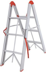 3 Steps Aluminium Folding Ladder with Red Color pictures & photos