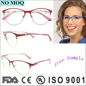 Fashion Italy Design Eyeglasses Optical Frame for Ladies Womens Rhinestone Metal Eyewear pictures & photos