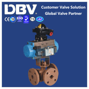 Ce Ts Pneumatic Operated Wcb Three Way Ball Valve pictures & photos