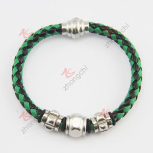 Fashion Jewelry Green Leather Stainless Steel Bracelet (LB)