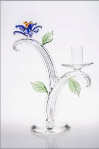 Clear Single Poster Glass Candle Holder for Wedding Decoration with Color Glass Flower pictures & photos