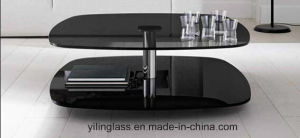 Black Printed Table Glass for Living Room Furniture pictures & photos