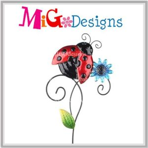 Absorbing Dancing Dragonfly Metal Garden Stake with Flower pictures & photos