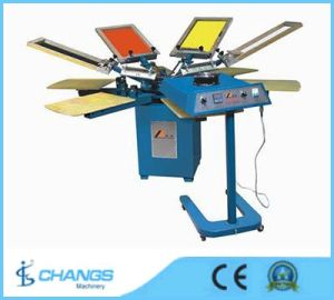 Spm 6 Colors Manual Rotary T-Shirt/Leather/Wood/Textile/Garments/Clothes/Shirt/Glass/Paper/Card Printer/Printing Machine pictures & photos