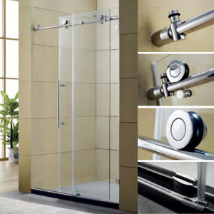 Stainless Steel Big Roller Shower Screen / by-Pass Shower Screen with Big Rollers / Sliding Shower Screen with Big Pulley pictures & photos