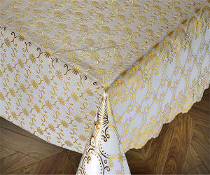137 Cm Vinyl PVC Lace Crochet Table Cloth in Roll Gold/Silver Coated pictures & photos