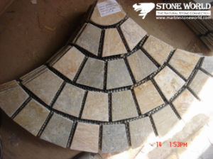 Mesh Yellow Flagstone Mosaic Tiles for Wall (mm087) pictures & photos