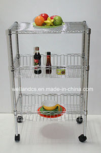 Home Kitchen Hand Push Basket Trolley Rack (BK603590B3C) pictures & photos