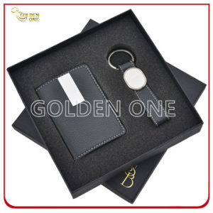 Luxury Leather Card Holder and Key Chain Gift Set pictures & photos