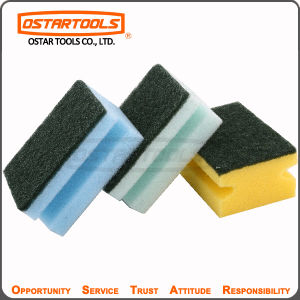 Grooved Cellulose Sponge Scouring Pad with Customized Logo pictures & photos