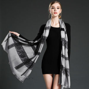 Women Lace Stitching Wool Scarf Shawl pictures & photos