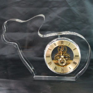Rabbit Shape Crystal Glass Gold Clock Gifts for Kids Room pictures & photos