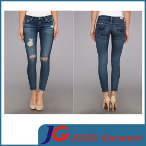 Ripped Denim Leg Women ′s Jeans Sport Skinny Pants (JC1372) pictures & photos