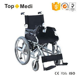 Electric Foldbale Lightweight Steel Frame Wheelchair with Drop Back Handle pictures & photos