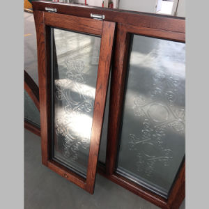 North America Round-Top Solid Red Wood Casement Window with Carved Glass pictures & photos