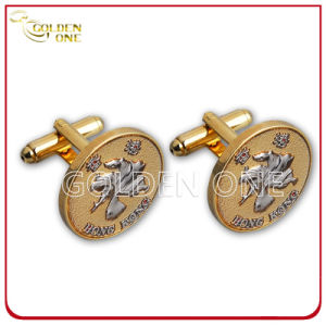 Personalized Design Metal Embossed Gold Plated Cuff Link pictures & photos