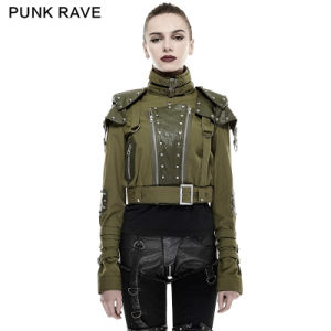 Y-665 Punk Rave 2016 Spring New Design Woman Green Shoulder Pads Nailing Handsome Military Uniform High Collar Short Jacket pictures & photos
