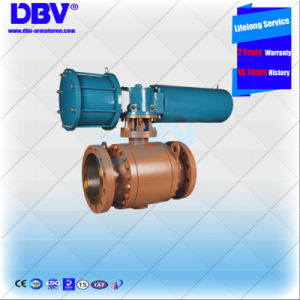 Industrial Stainless Steel Pneumatic Operated 3 Pieces Flange Fixed Ball Valve