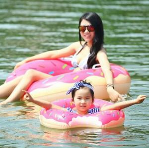 Inflatable Swimming Donut PVC Inflatable Strawberry Chocolate Swim Ring