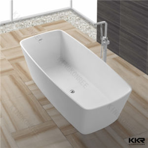 Modern Bathroom Rectangle Artificial Stone Free Standing Bathtub pictures & photos