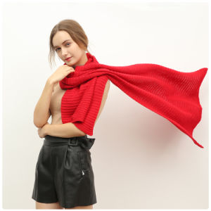 Lady Fashionable Red Knitting Wool Scarf