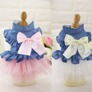 Cute Lovely Dog Jeans Bowtie Dress Pet Tutu Skirt pictures & photos