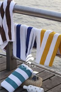 Wholesale Hotel All Cotton Yellow and White Stripe Swimming Towel Beach Yarn Dyed Towels pictures & photos
