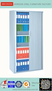 Tambour Door Cabinet Office Furniture with 4 Adjust Shelves/Glazed Door Cabinet pictures & photos