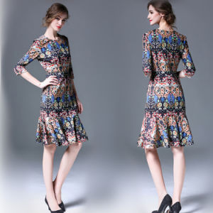 Wholesale Women Round Neck Rayon Dress (A999)