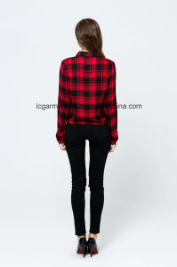 Popular Design Fashion Red Plaid Shirt Casual Style Lady Blouse pictures & photos